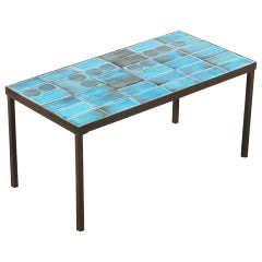 Vallauris Coffee Table with Blue Ceramic Tiles, circa 1960