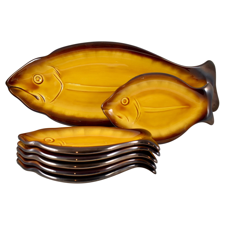 Vallauris Cote D'azur French Provençal Mid-Century Faïence Fish Service Set of 7