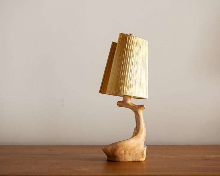 Mid-Century Modern Vallauris Faux Bois Lamp with Spiral Shade, France, 1950s For Sale