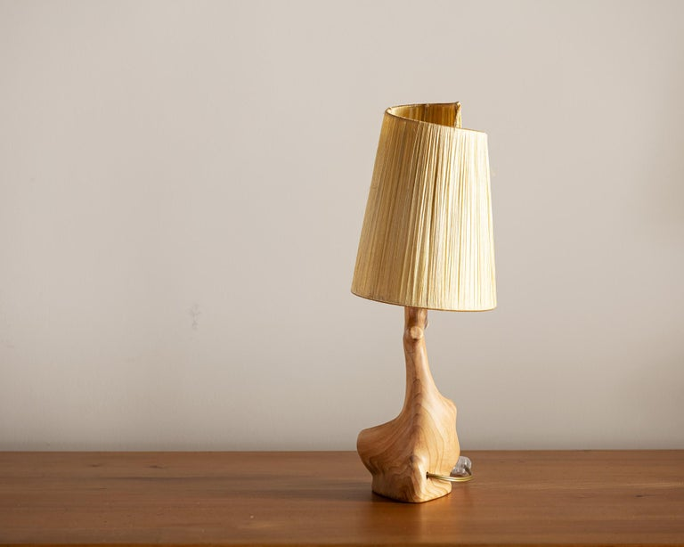 French Vallauris Faux Bois Lamp with Spiral Shade, France, 1950s For Sale