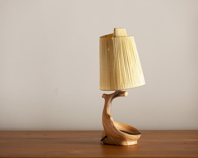 Vallauris Faux Bois Lamp with Spiral Shade, France, 1950s In Good Condition For Sale In Santa Fe, NM
