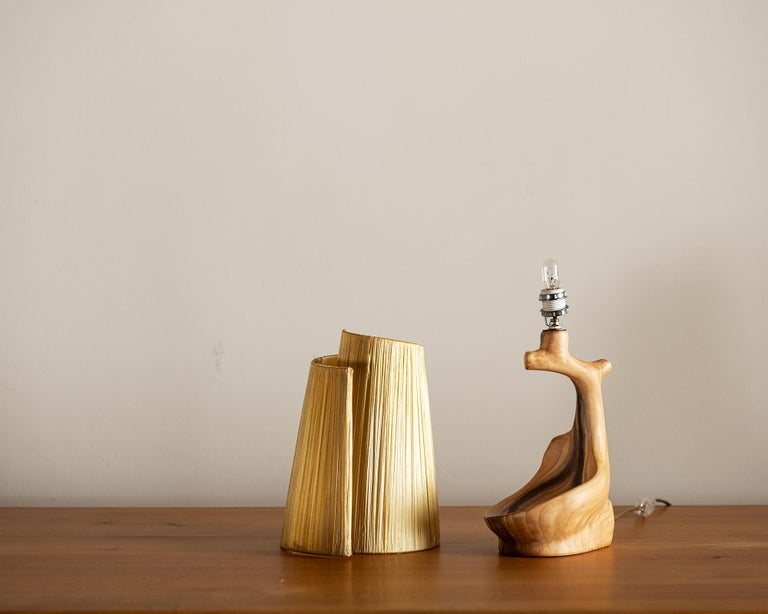 Mid-20th Century Vallauris Faux Bois Lamp with Spiral Shade, France, 1950s For Sale