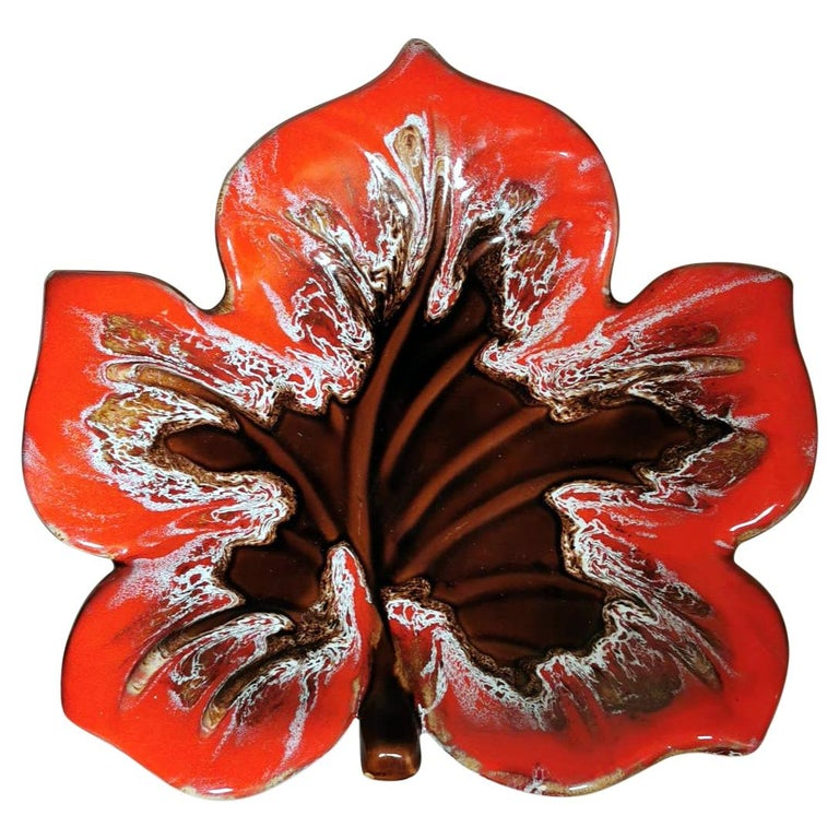 Vallauris France Colorful Ceramic Table Centerpiece Leaf Shaped For Sale
