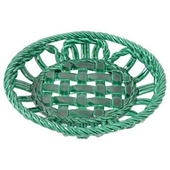 Vallauris France Glazed Ceramic Woven Green Basket, Bowl Century Modern Pottery
