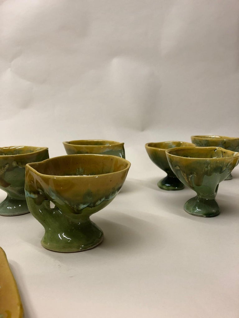 Vallauris France Green and Yellow Coffee Set / Tea Set For Sale 6