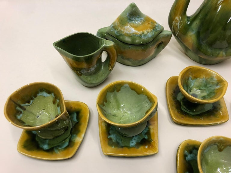 Hand-Painted Vallauris France Green and Yellow Coffee Set / Tea Set For Sale