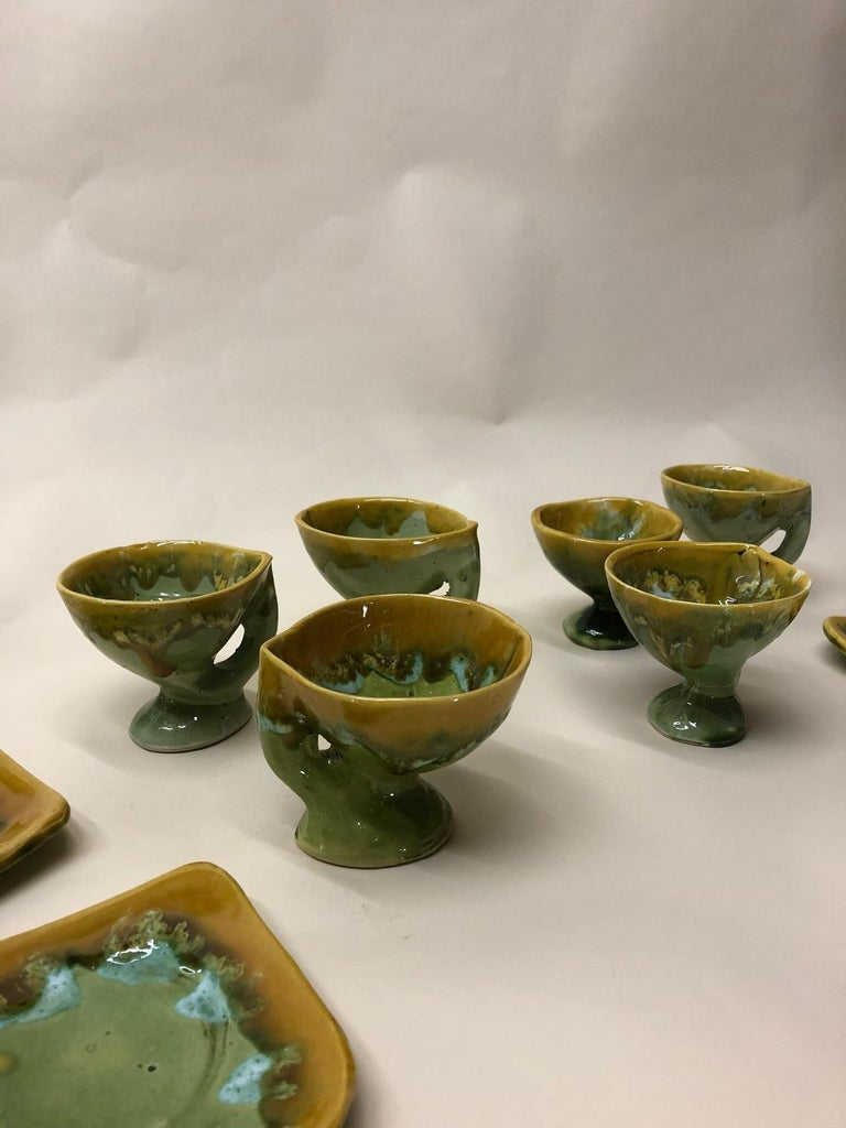 Vallauris France Green and Yellow Coffee Set / Tea Set In Excellent Condition For Sale In Achterveld, NL