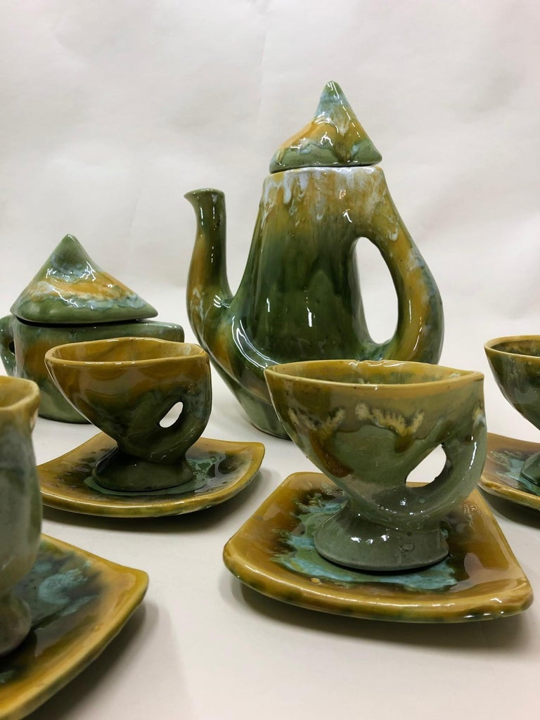 Mid-20th Century Vallauris France Green and Yellow Coffee Set / Tea Set For Sale