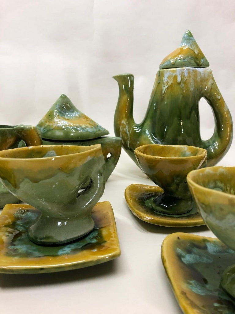 Ceramic Vallauris France Green and Yellow Coffee Set / Tea Set For Sale