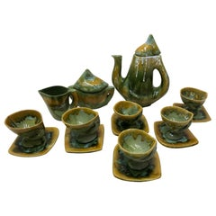 Vallauris France Green and Yellow Coffee Set / Tea Set