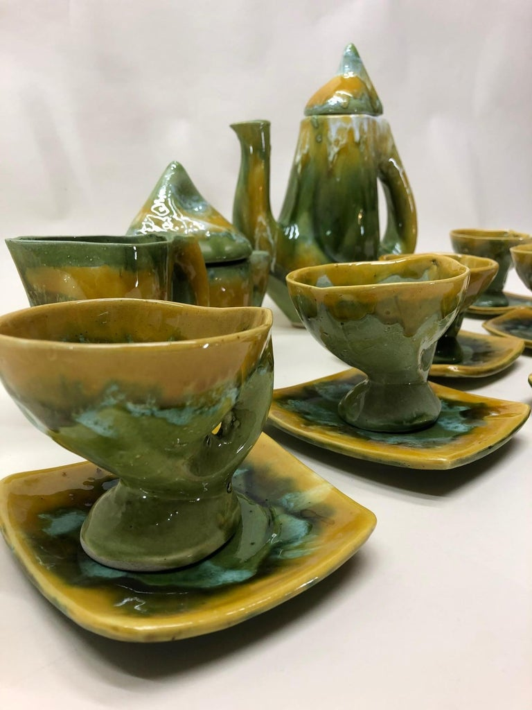 French Vallauris France Green and Yellow Coffee Set / Tea Set For Sale