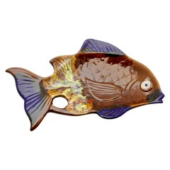 Vallauris 'France' Pottery Ceramic Fish Shape in Colors Brown and Blue