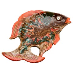 Vallauris 'France' Pottery Ceramic Fish Shape in Colors Red and Brown and Green