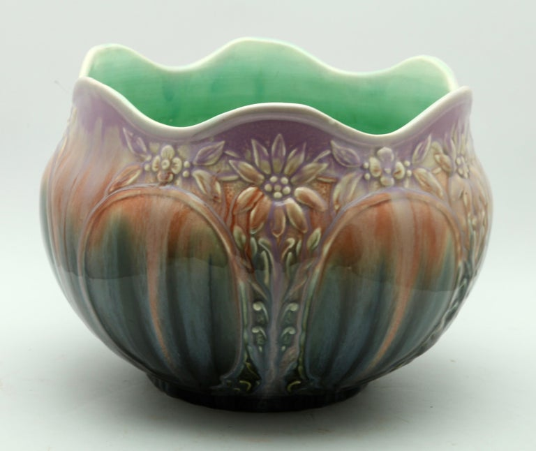 Vallauris Glazed Art Nouveau Planter Jardinière, Signed A.M., 1930s In Good Condition In Verviers, BE