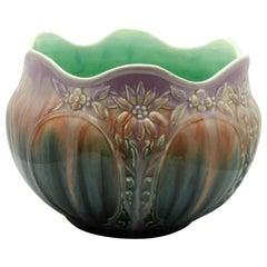 Vallauris Glazed Art Nouveau Planter Jardinière, Signed A.M. 1930s