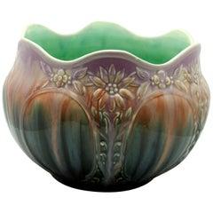 Vallauris Glazed Art Nouveau Planter Jardinière, Signed A.M., 1930s