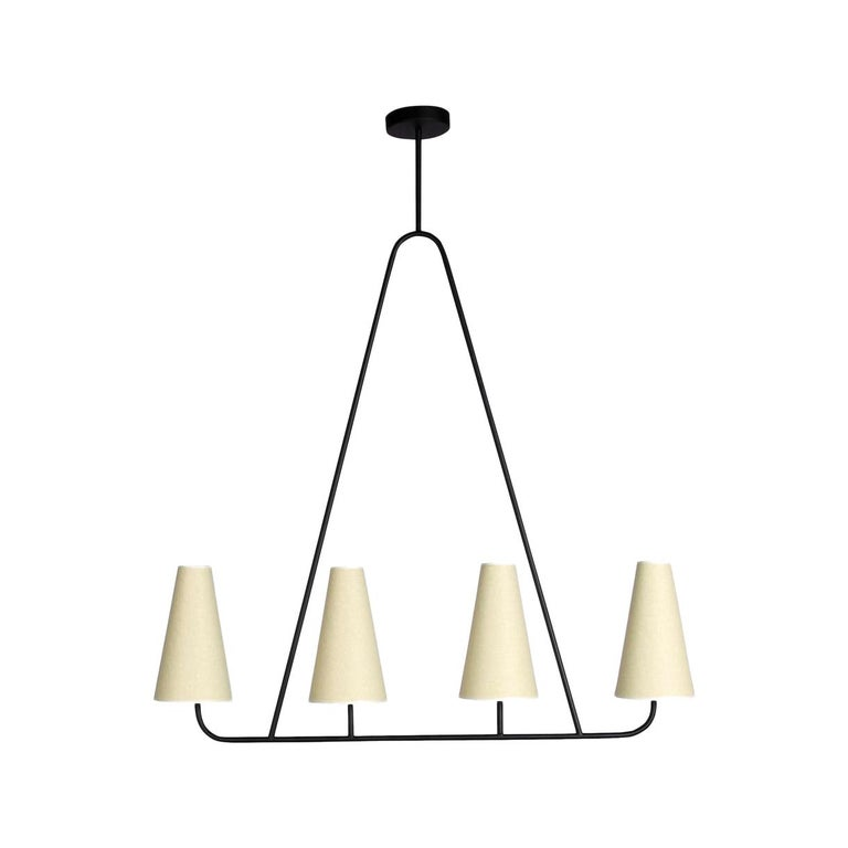 'Vallauris IV' Four-Arm Chandelier in the Style of Jean Royère For Sale