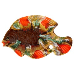 Vallauris Majolica Serving Platter or Centerpiece Fish Design Midcentury