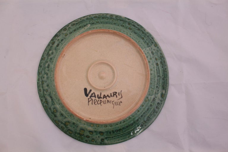 Hand-Painted Vallauris Plate Midcentury Galleon One of a Kind Hand Decorated Studio Pottery For Sale