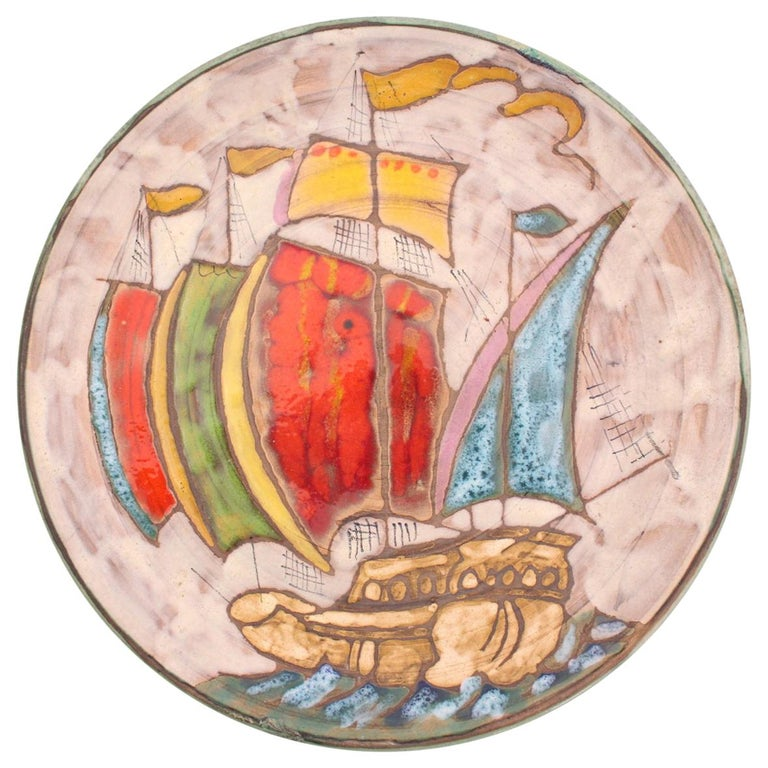 Vallauris Plate Midcentury Galleon One of a Kind Hand Decorated Studio Pottery For Sale