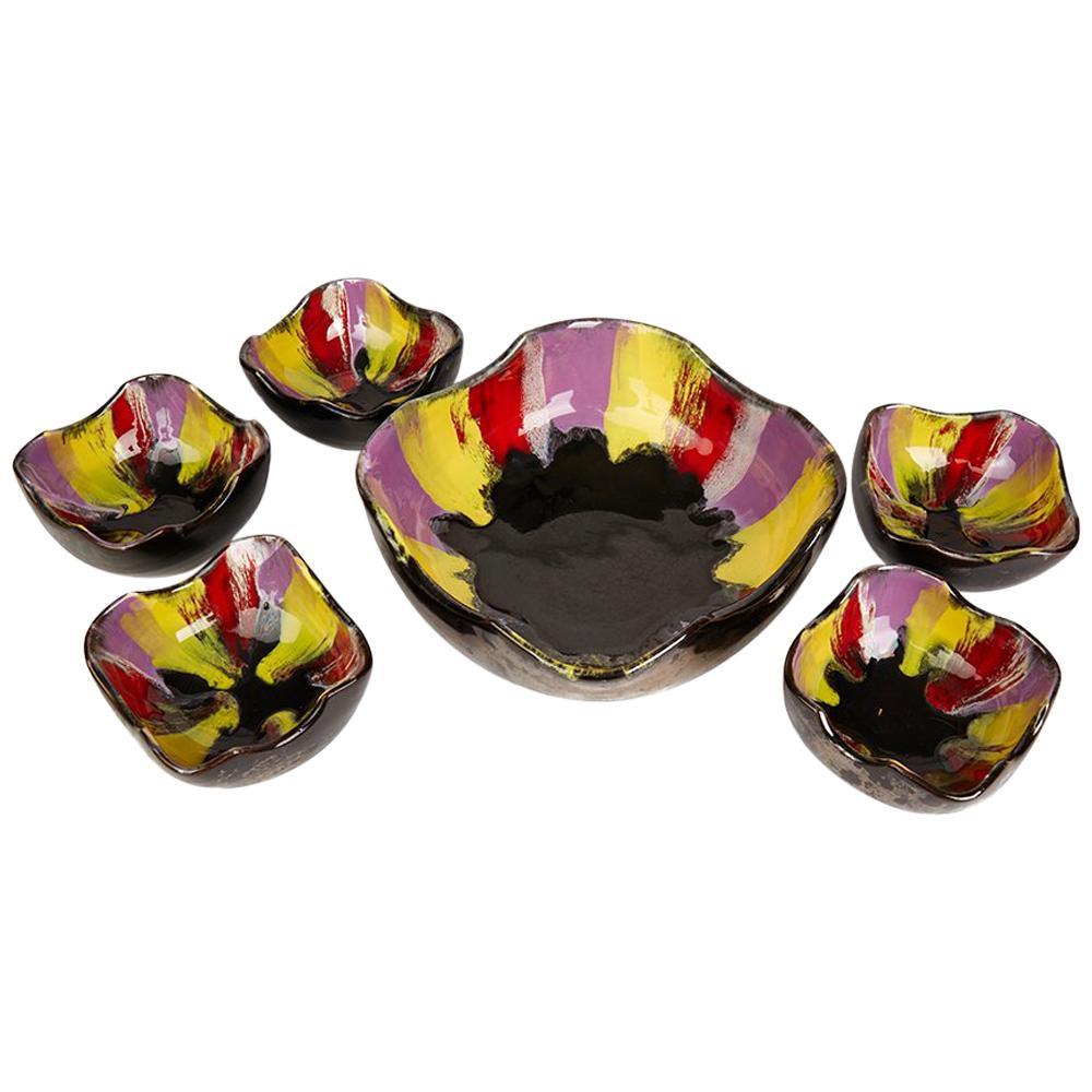 Vallauris Pottery Multicolour Glazed Bowl Set, circa 1950