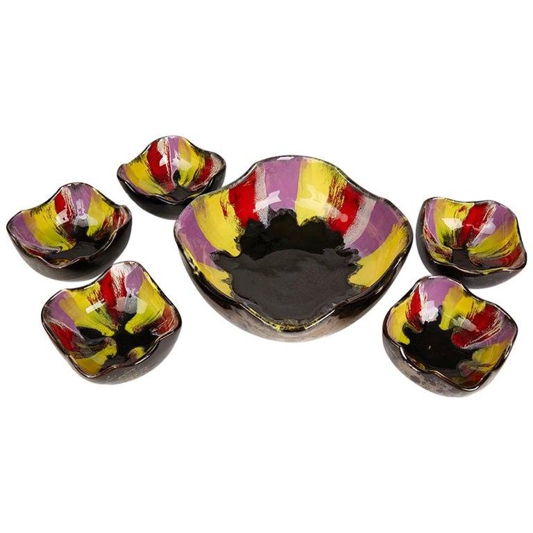 Vallauris Pottery Multicolour Glazed Bowl Set, circa 1950 For Sale