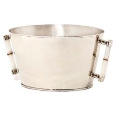 Valle Large Silver Alpaca & Cream Onyx Stone Bar Champagne Bucket