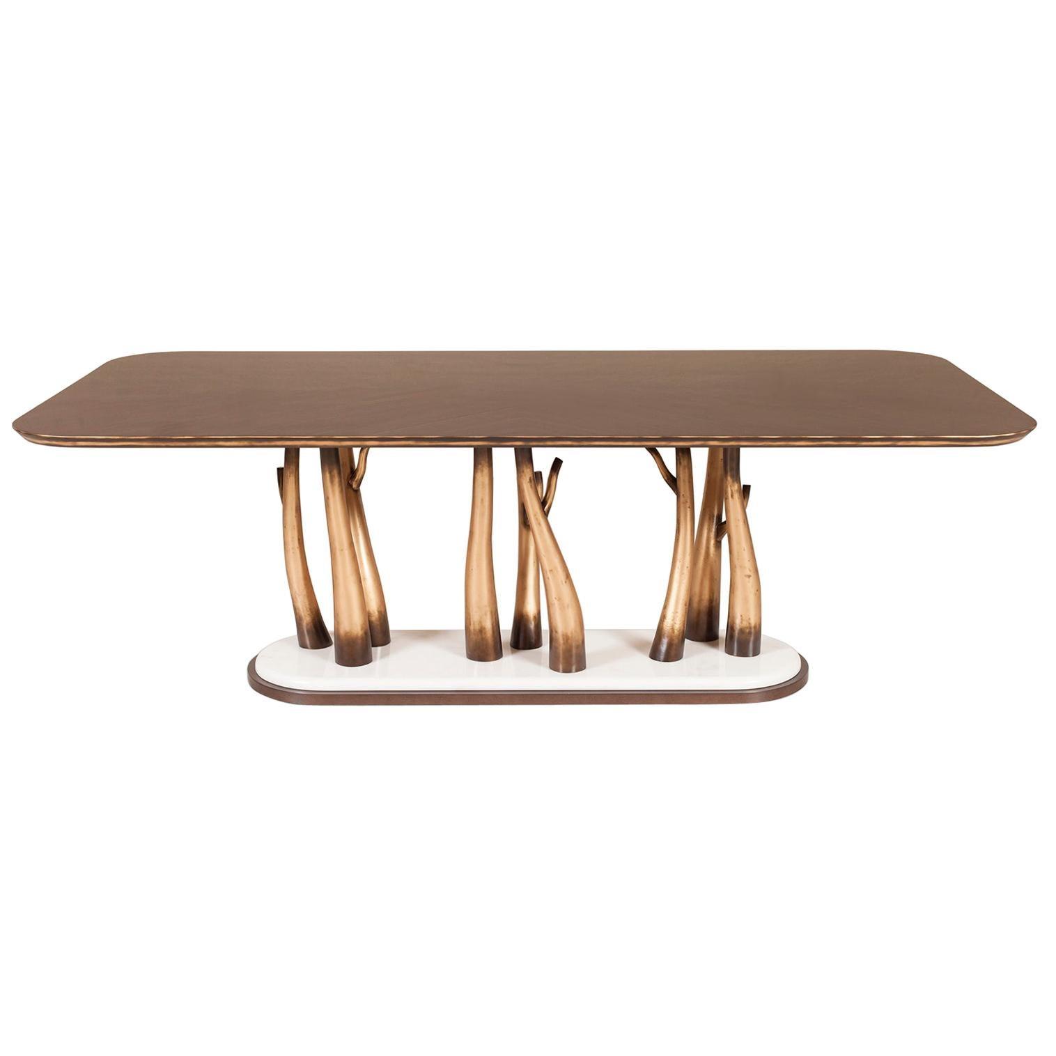 Vallin 8-Seat Dining Table Ebony Macassar Beech Calacatta Bianco Rustic Gold