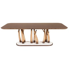 Vallin 8-Seat Dining Table Ebony Macassar Beech Calacatta Bianco Rustic Gold