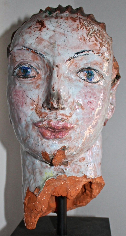 Austrian Vally Wieselthier Important Ceramic Head, & Hand from Wiener Werkstätte Showroom For Sale