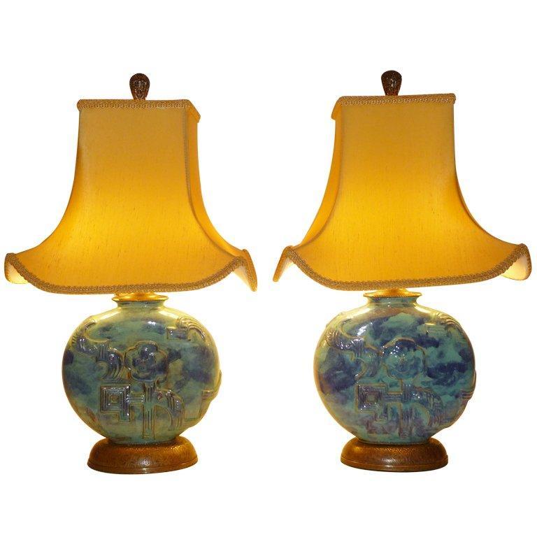 Vally Wieselthier Pottery Table Lamps Wiener Werkstatte