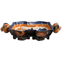 Polychrome Ceramic Centerpiece with Animal Head Handles