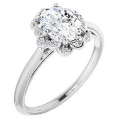Valorenna Floral Halo Oval Diamond Accented GIA Certified Engagement Ring
