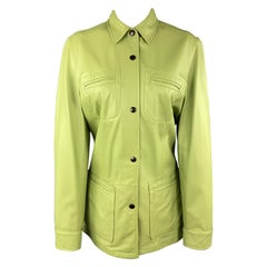 VALSTAR Size 8 Green Leather Collared Snap Shirt Coat