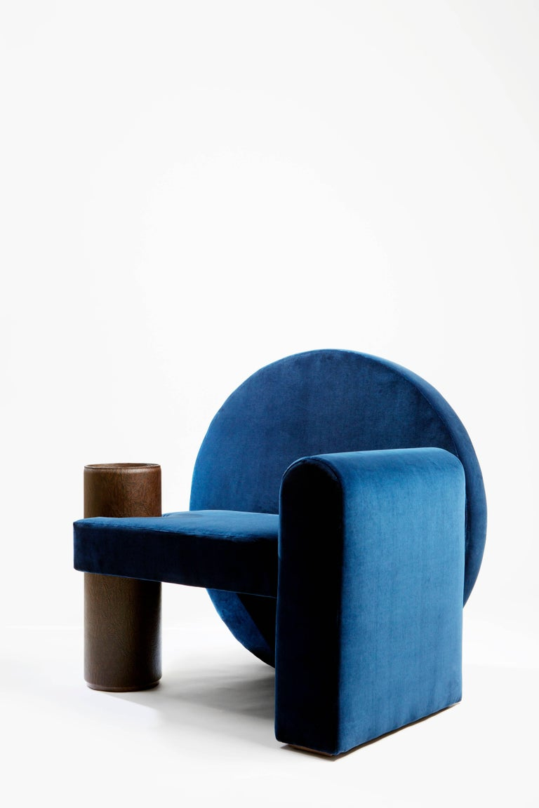 Modern 'Valsusa' Armchair in Blue Velvet and Leather by POOL For Sale