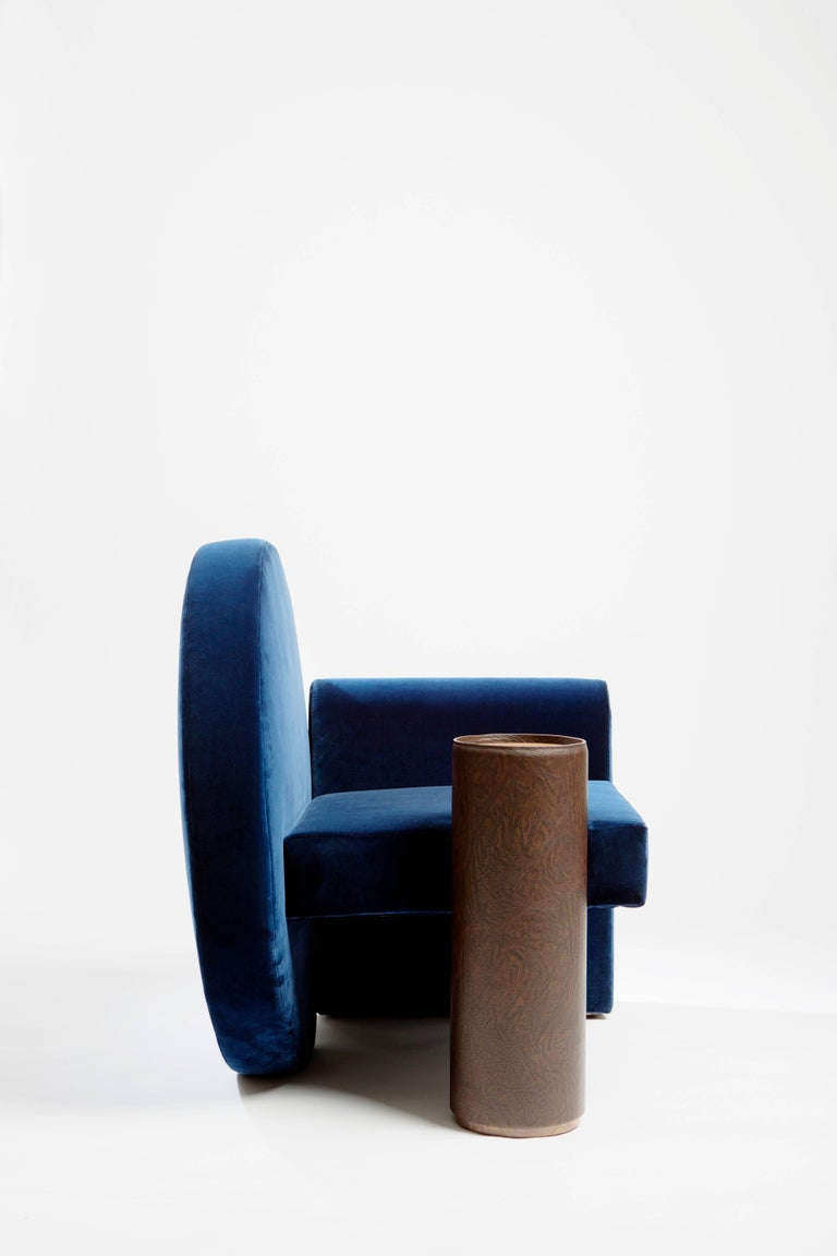French 'Valsusa' Armchair in Blue Velvet and Leather by POOL For Sale