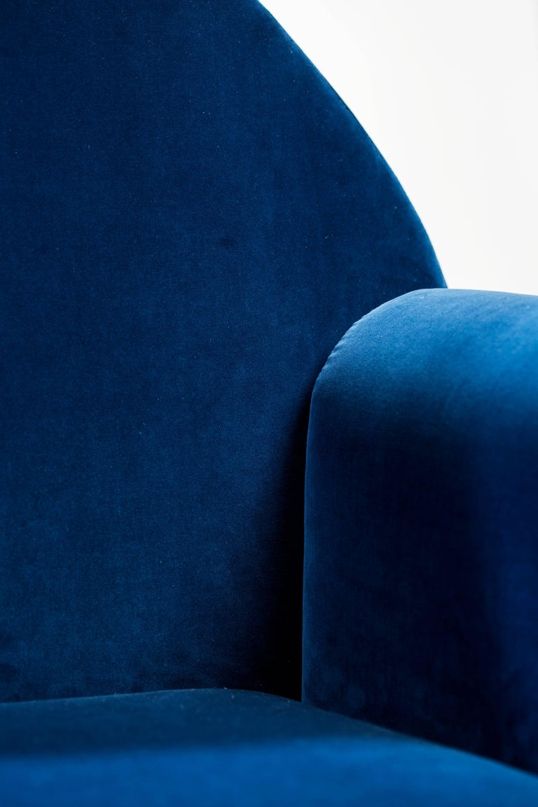 'Valsusa' Armchair in Blue Velvet and Leather by POOL For Sale 1