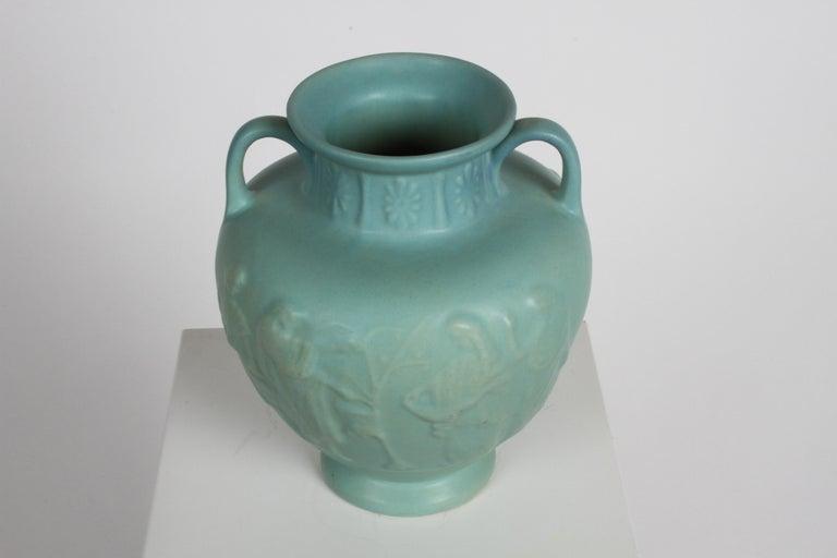 Van Briggle Turquoise Ming Glaze Grecian Urn or Vase Signed D.R. For Sale 4