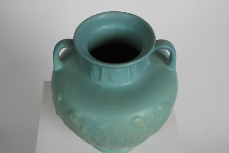 Van Briggle Turquoise Ming Glaze Grecian Urn or Vase Signed D.R. For Sale 5
