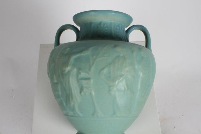 Van Briggle Turquoise Ming Glaze Grecian Urn or Vase Signed D.R. For Sale 6