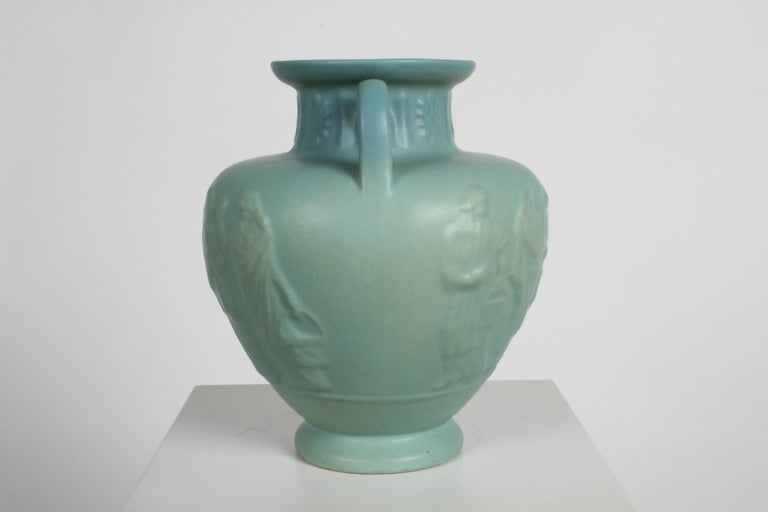 Late 20th Century Van Briggle Turquoise Ming Glaze Grecian Urn or Vase Signed D.R. For Sale
