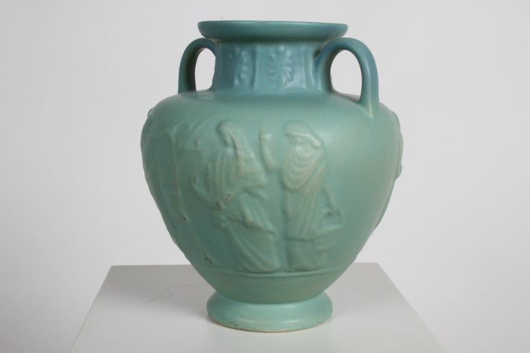 Clay Van Briggle Turquoise Ming Glaze Grecian Urn or Vase Signed D.R. For Sale