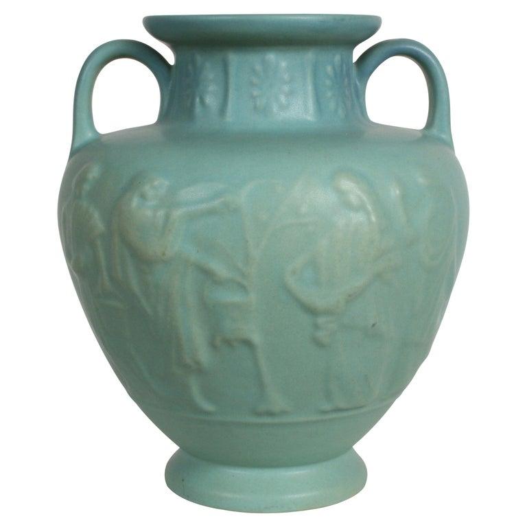 Van Briggle Turquoise Ming Glaze Grecian Urn or Vase Signed D.R. For Sale