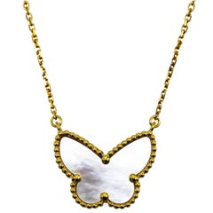 Van Cleef & Arpels Mother-of-Pearl 'Lucky Alhambra Butterfly' Pendant Necklace