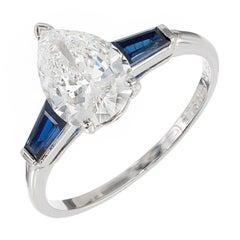 Van Cleef & Arpels 1.40 Carat Pear Diamond Sapphire Platinum Engagement Ring