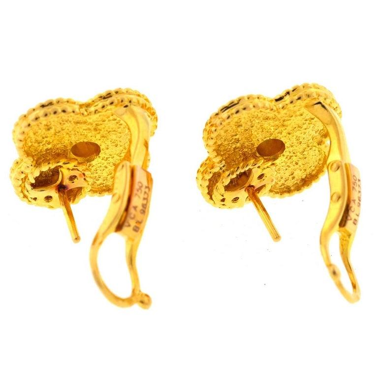 Van Cleef & Arpels 18 Karat Gold Vintage Alhambra Stud Earrings For Sale 4