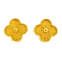 Van Cleef & Arpels 18 Karat Gold Vintage Alhambra Stud Earrings