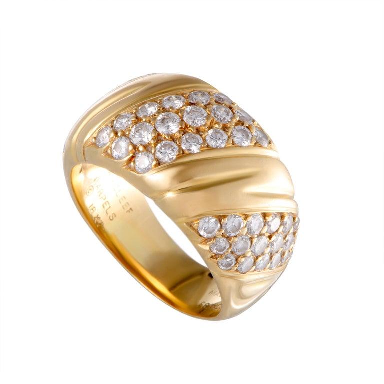 Van Cleef & Arpels 18 Karat Diamond Pave Gold Band Ring