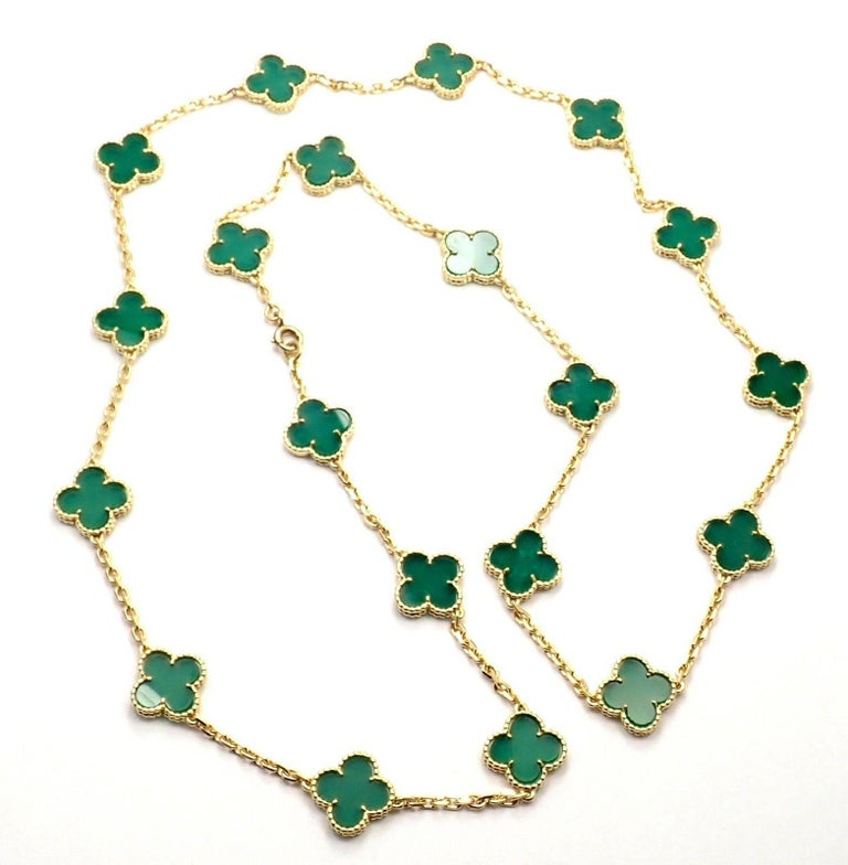 18k Yellow Gold Vintage 20 Alhambra Chrysoprase Green Chalcedony Necklace by  Van Cleef & Arpels. With 20 motifs of chrysoprase green chalcedony alhambra stones 15mm each *** This is a rare, very collectible, antique Van Cleef & Arpels Chrysoprase