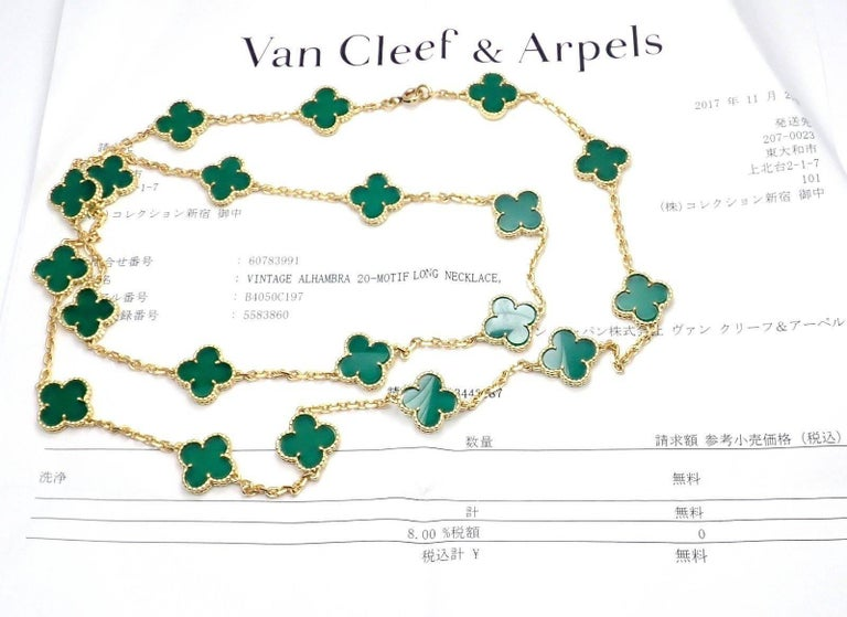 Van Cleef & Arpels 20 Chrysoprase Green Chalcedony Alhambra Yellow Gold Necklace For Sale 1